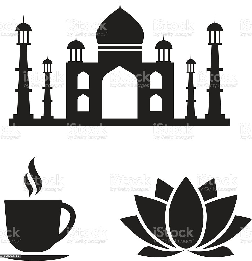 Indiske vektorikoner Rejse Indien Stock Vektorkunst Mere-4248