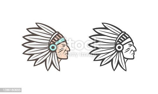American Indian. Vector illustration can be used as an icon, logo or illustration
