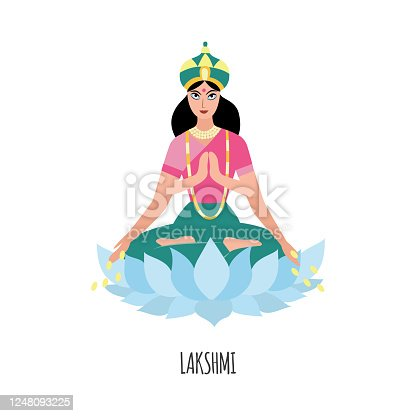 Indian wealth goddess Lakshmi with four arms sitting in lotus pose on a flower spilling money coins from hands. Hindu deity woman - flat isolated vector illustration.