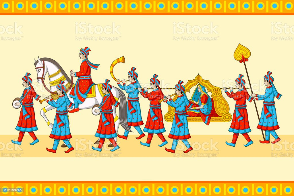 Indian wedding baraat ceremony vector art illustration