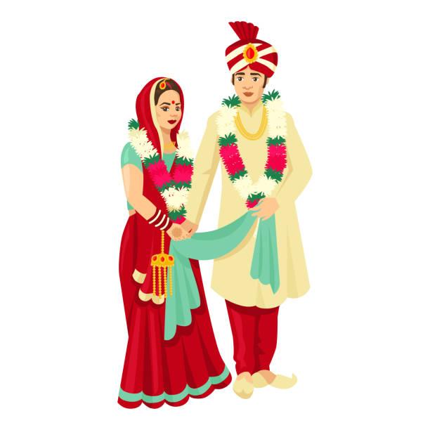 stockillustraties, clipart, cartoons en iconen met indiase bruidspaar in traditionele jurken. vector design voor uitnodiging bruiloft - indiase cultuur