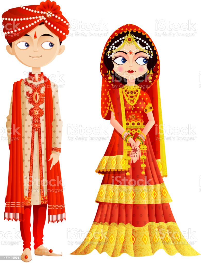 Indian Wedding Couple vector art illustration