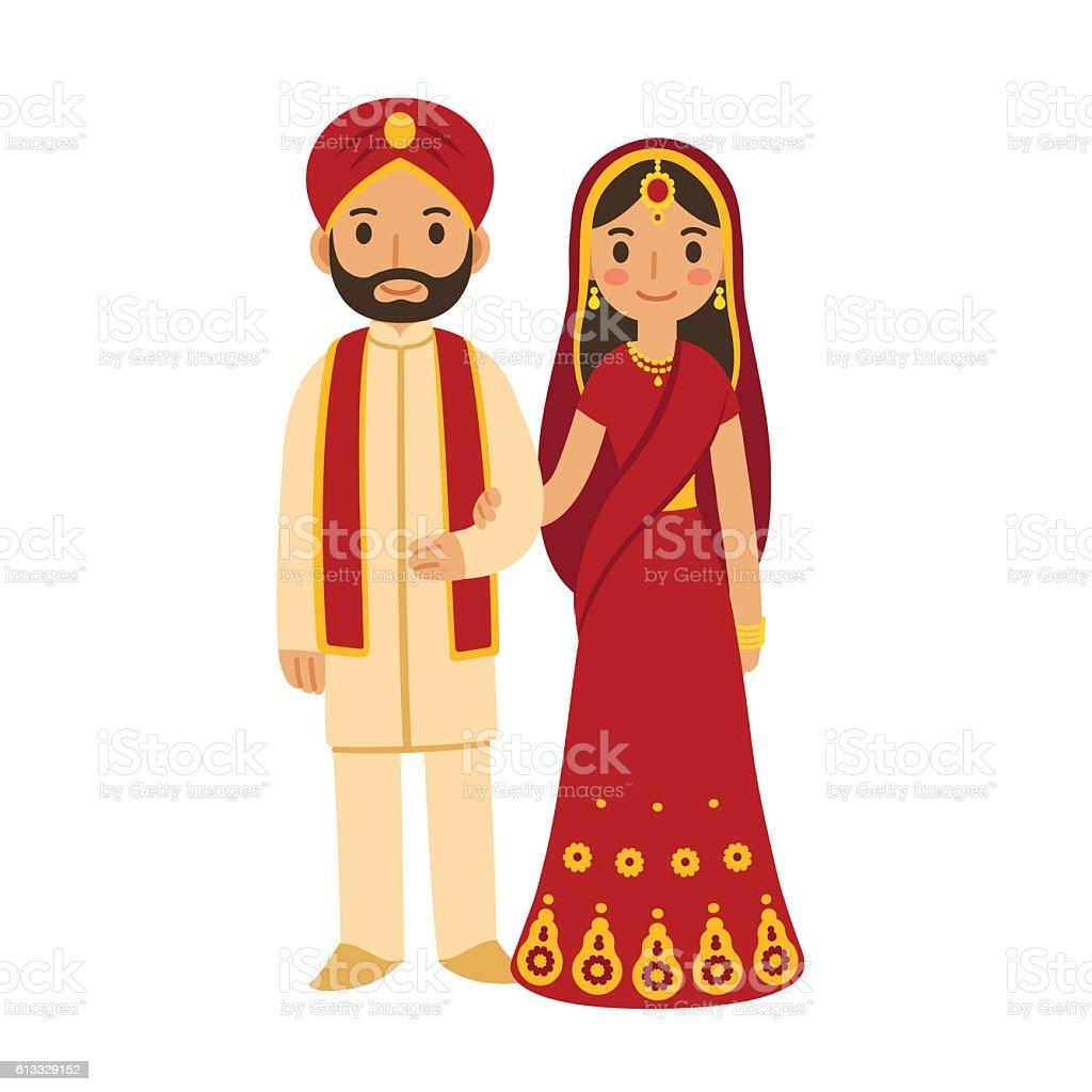 Indian wedding couple vector art illustration