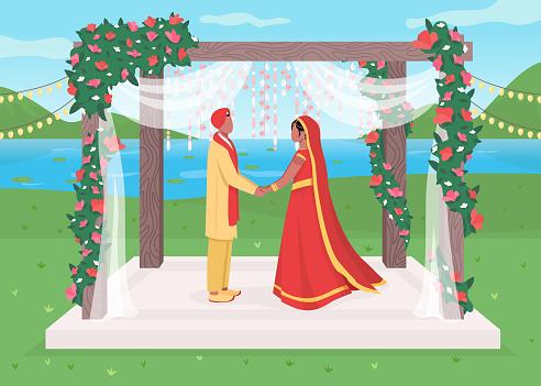 Indian wedding flat color vector illustration