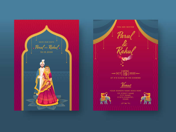 Indian Wedding Invitation Card Design with Couple Character and Venue Details in Front and Back View. vector art illustration