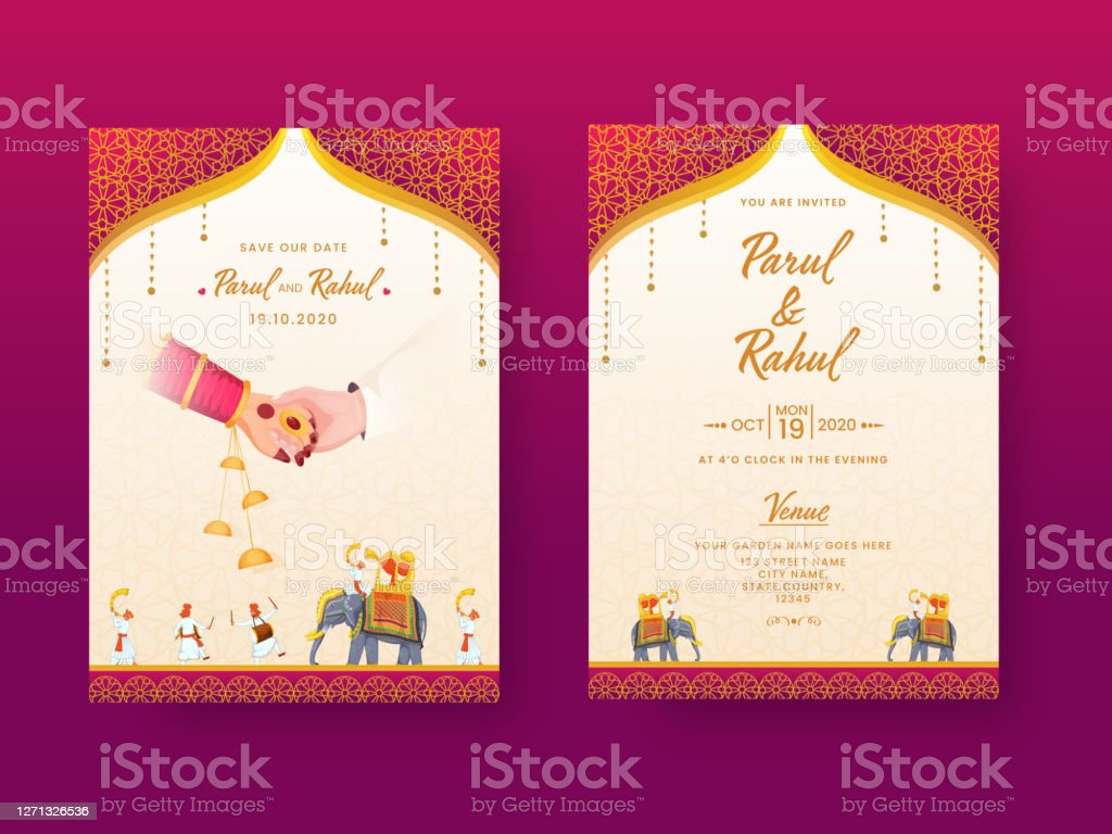 Indian Wedding Invitation Card Template Layout With Venue Details In Front And Back View Stock Illustration Download Image Now Istock