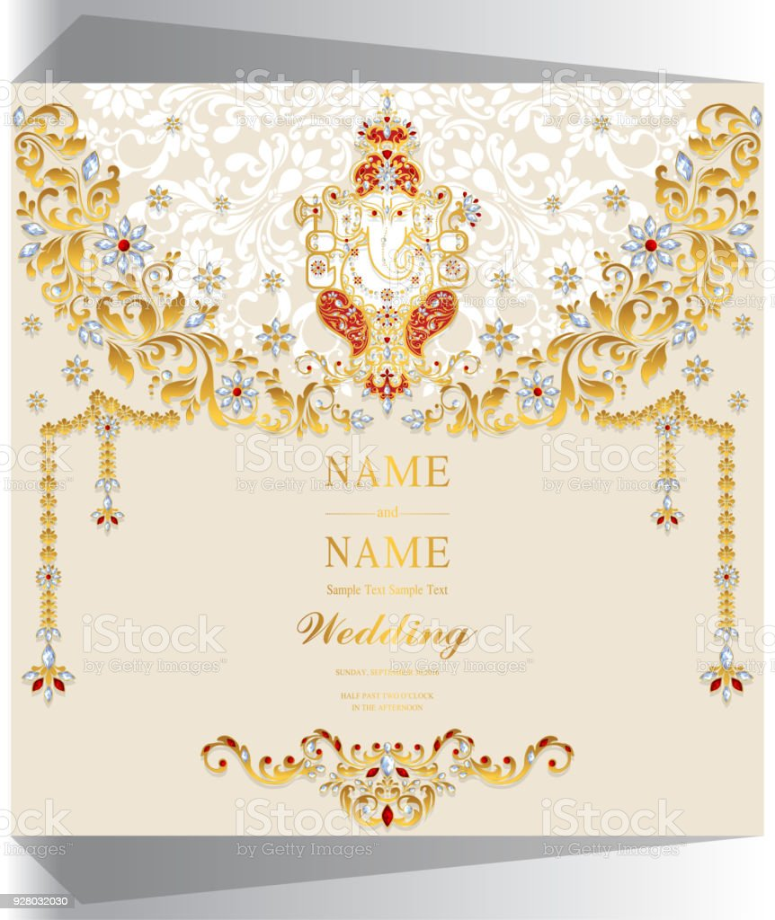 Indian Wedding Invitation Card Templates With Ganesha Gold Patterned