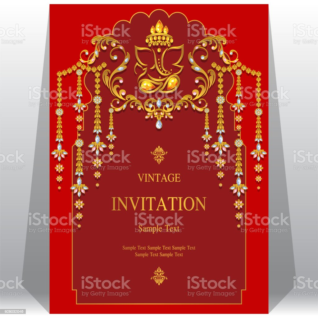 Indian Wedding Invitation Card Templates With Ganesha Gold Patterned ...