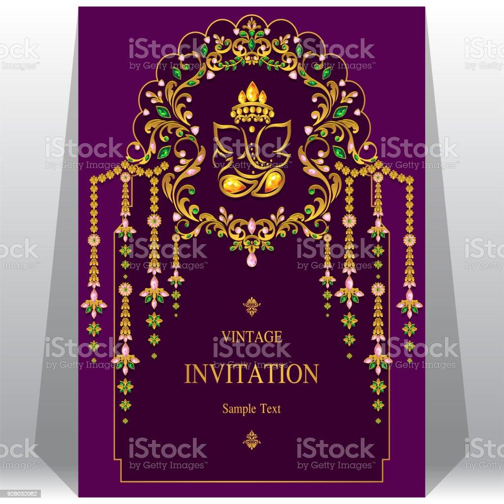 Indische Hochzeit Einladung Kartenvorlagen Mit Ganesha Gold ...