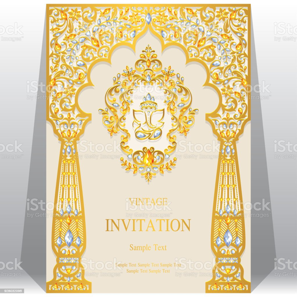 Indian wedding invitation card templates with ganesha gold patterned indian wedding invitation card templates with ganesha gold patterned and crystals on paper color background stopboris Images