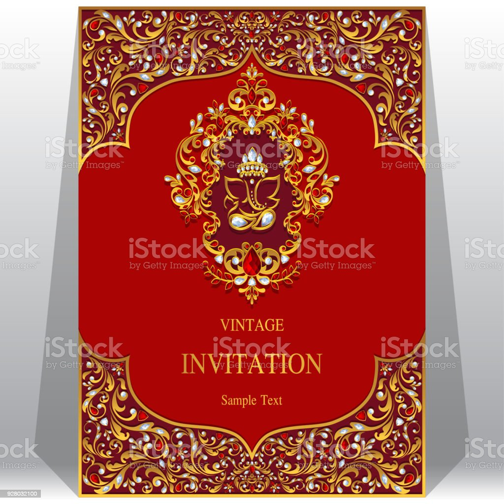 Indian Wedding Invitation Card Templates With Ganesha Gold