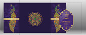 Indian wedding Invitation card templates with gold patterned and crystals on paper color.