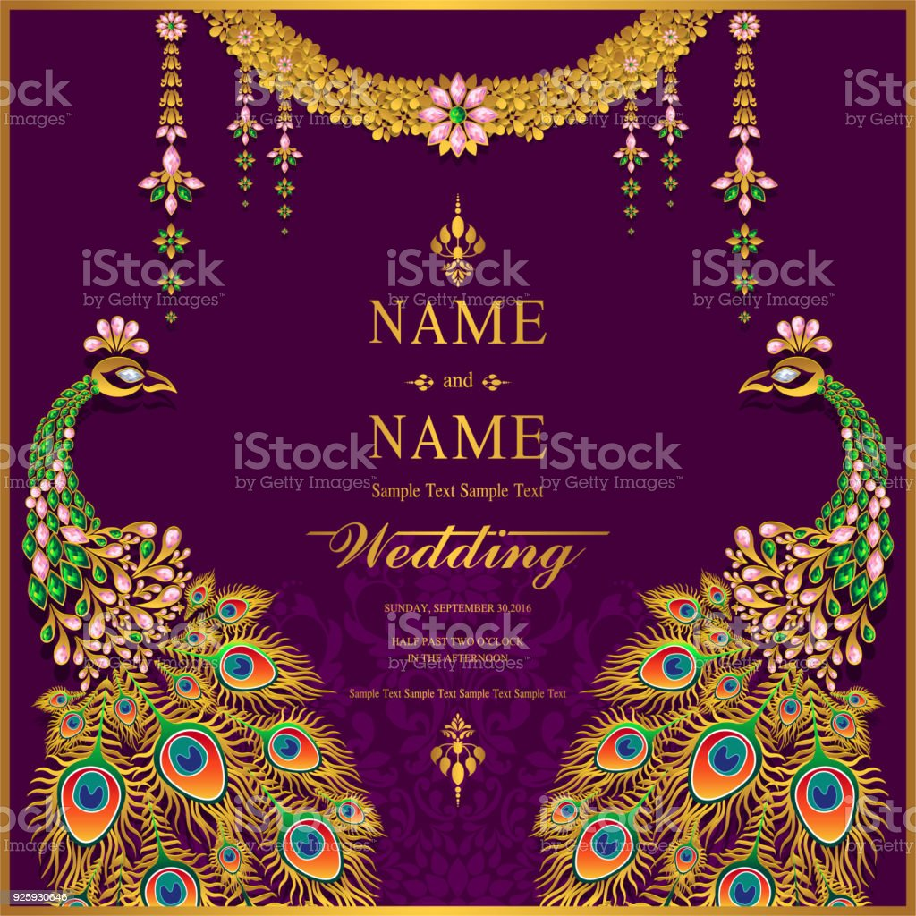 Indian Wedding Invitation Card Templates With Gold Patterned And