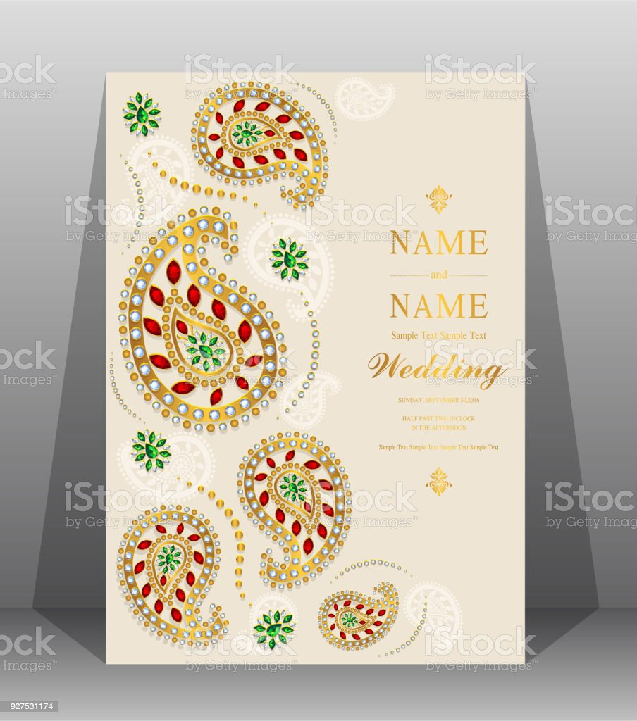 Indian wedding invitation card templates with gold patterned and indian wedding invitation card templates with gold patterned and crystals on paper color background indian stopboris Images