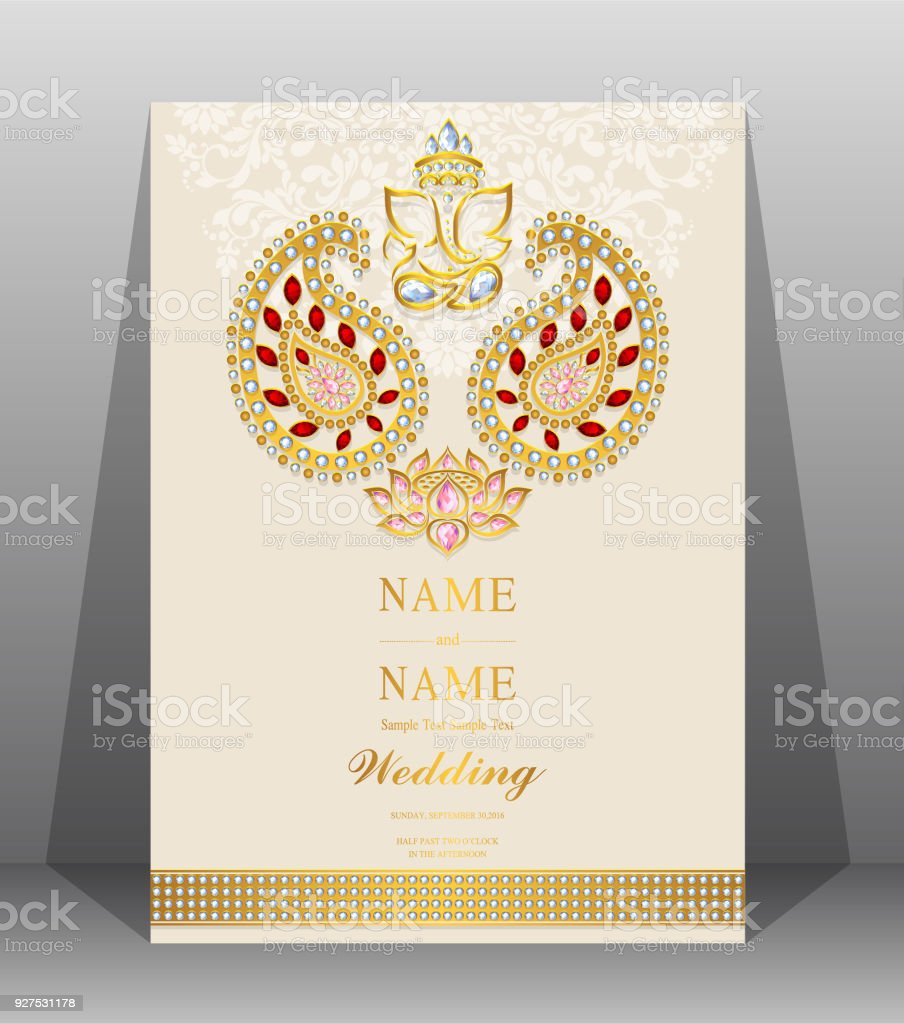 Indian wedding invitation card templates with gold patterned and indian wedding invitation card templates with gold patterned and crystals on paper color background indian stopboris Gallery