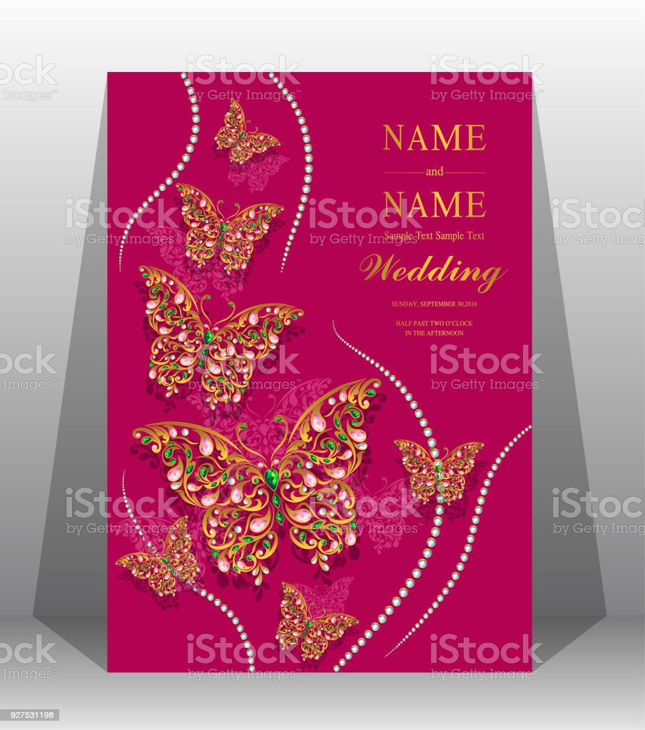 Indian Wedding Invitation Card Templates With Gold Patterned And ...