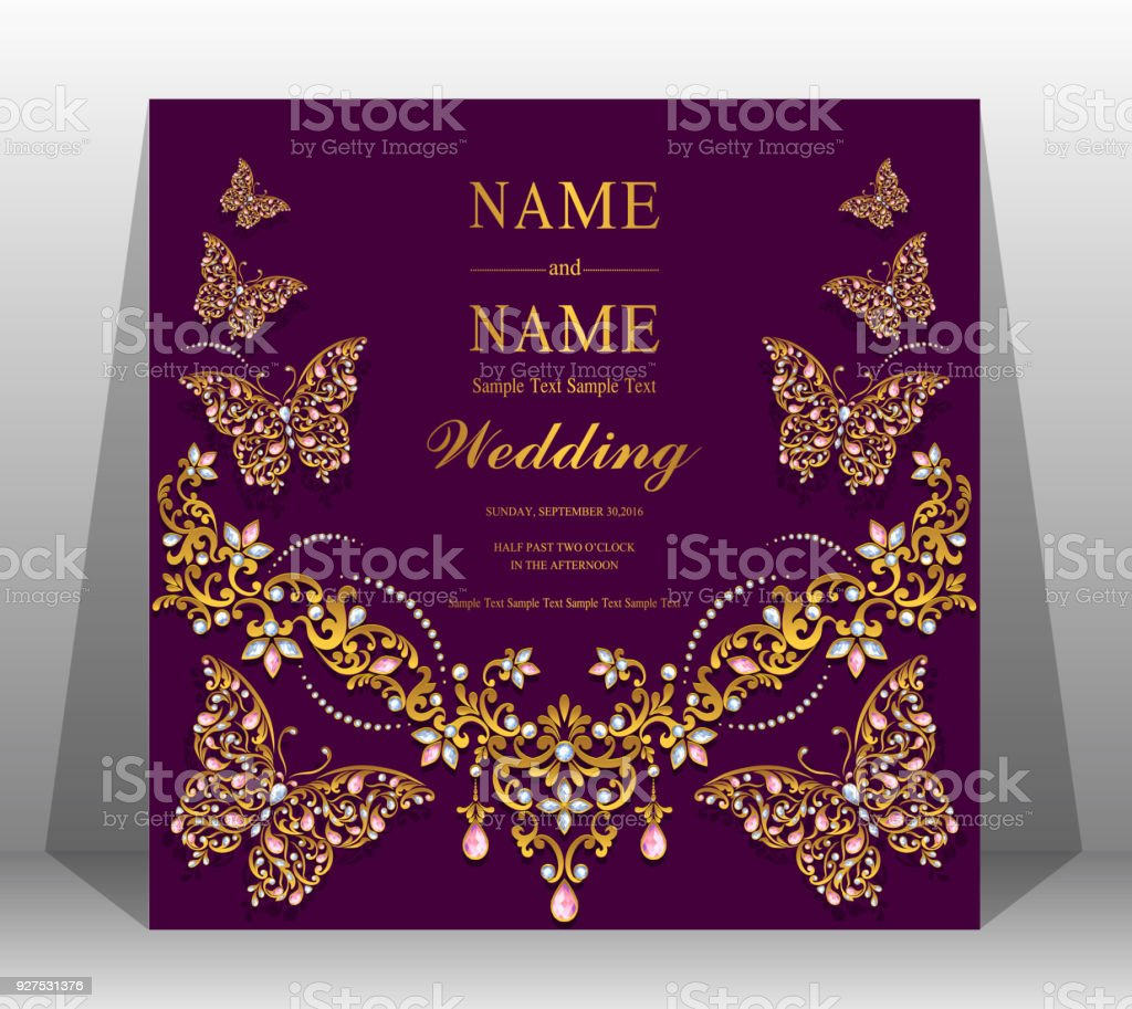 indian wedding invitation card templates with gold patterned and crystals on paper color background royalty - Indian Wedding Invitation Cards