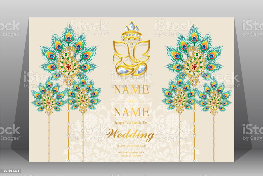 Indian wedding invitation card templates with gold patterned and indian wedding invitation card templates with gold patterned and crystals on paper color background royalty stopboris Image collections