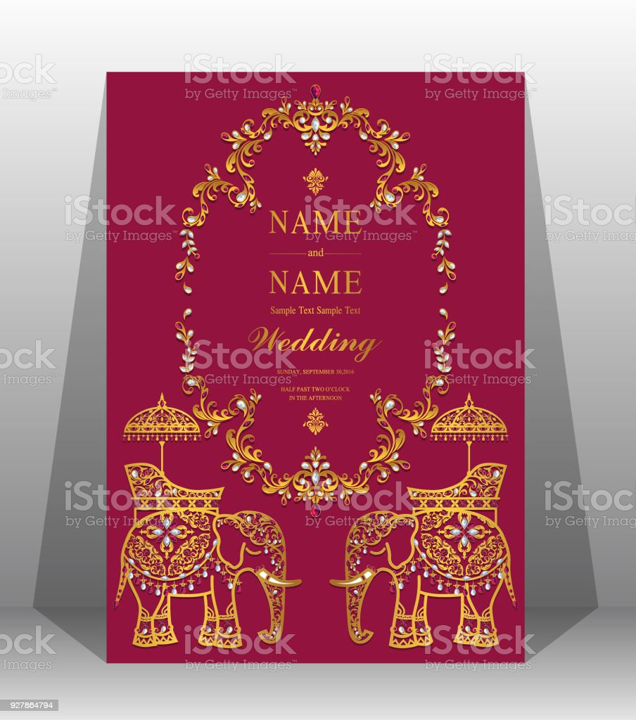 Indian wedding invitation card templates with gold patterned and crystal glitter gold pebble dubai indian wedding invitation card stopboris Images
