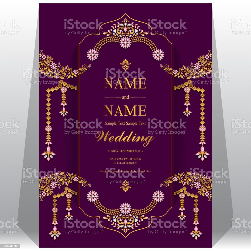 Indian wedding invitation card templates with gold patterned and indian wedding invitation card templates with gold patterned and crystals on paper color background indian stopboris Image collections