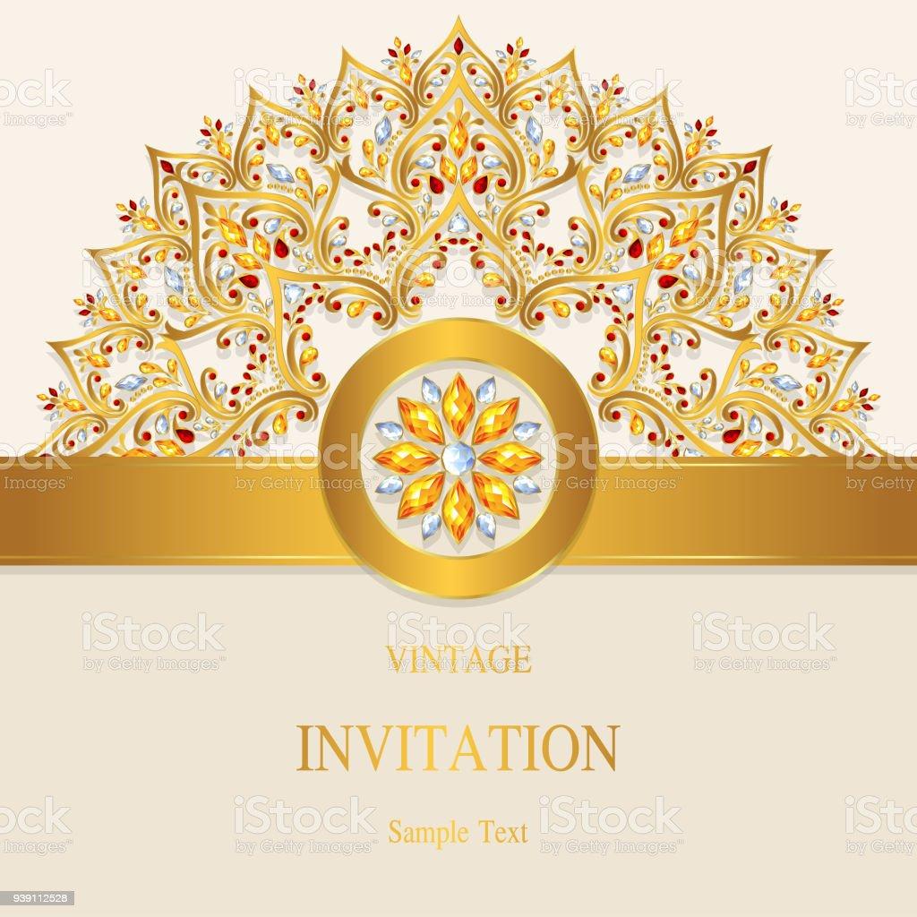 Ilustración de Modelos De Tarjetas De Invitación De Boda India Con ...