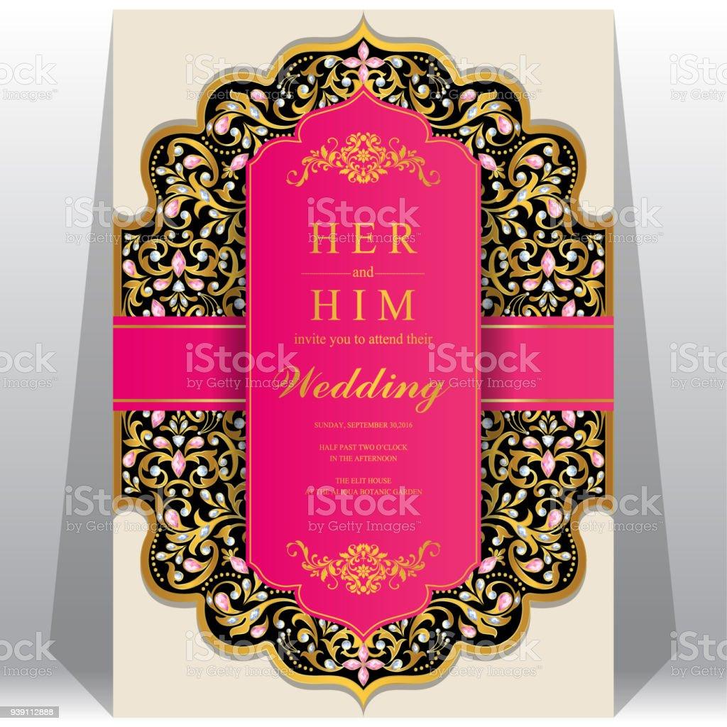 Modèles De Carte Invitation Mariage Indien Dor à Motifs Et