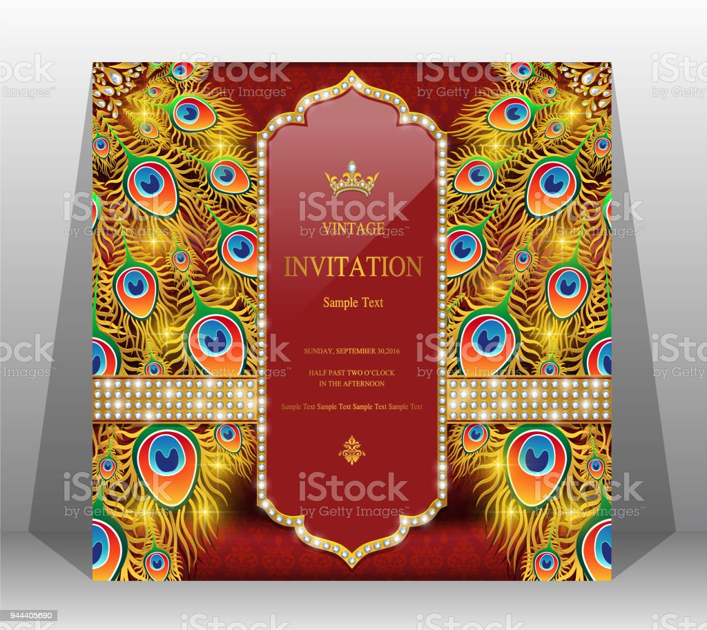 indian wedding invitation card templates with gold