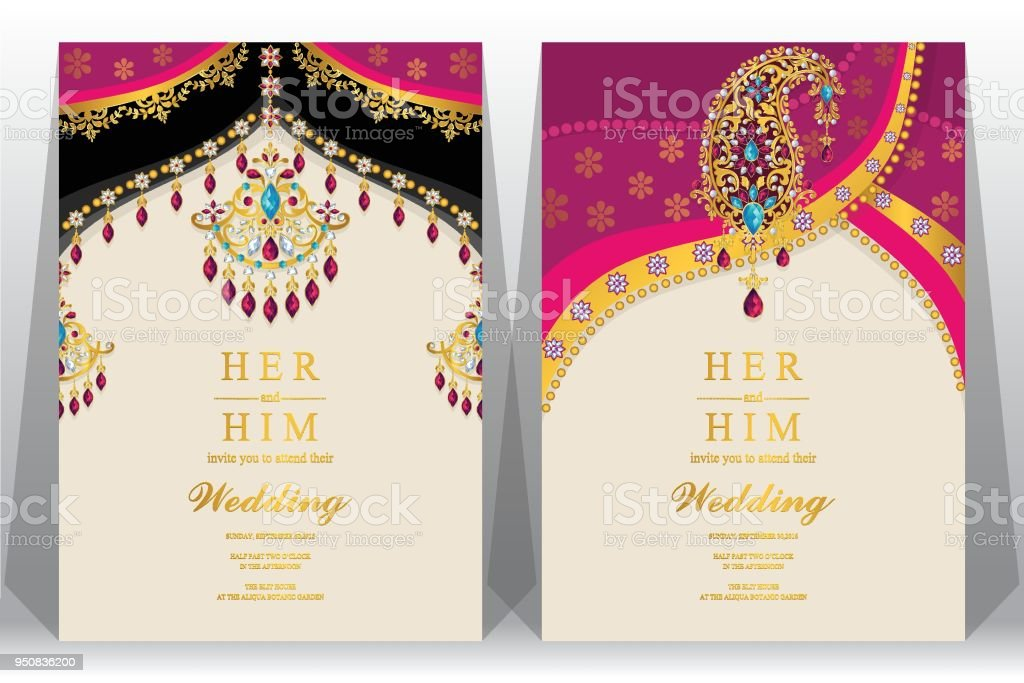 Indian Wedding Invitation Card Templates With Gold Patterned And Crystals On Paper Color Background Stock Illustration Download Image Now