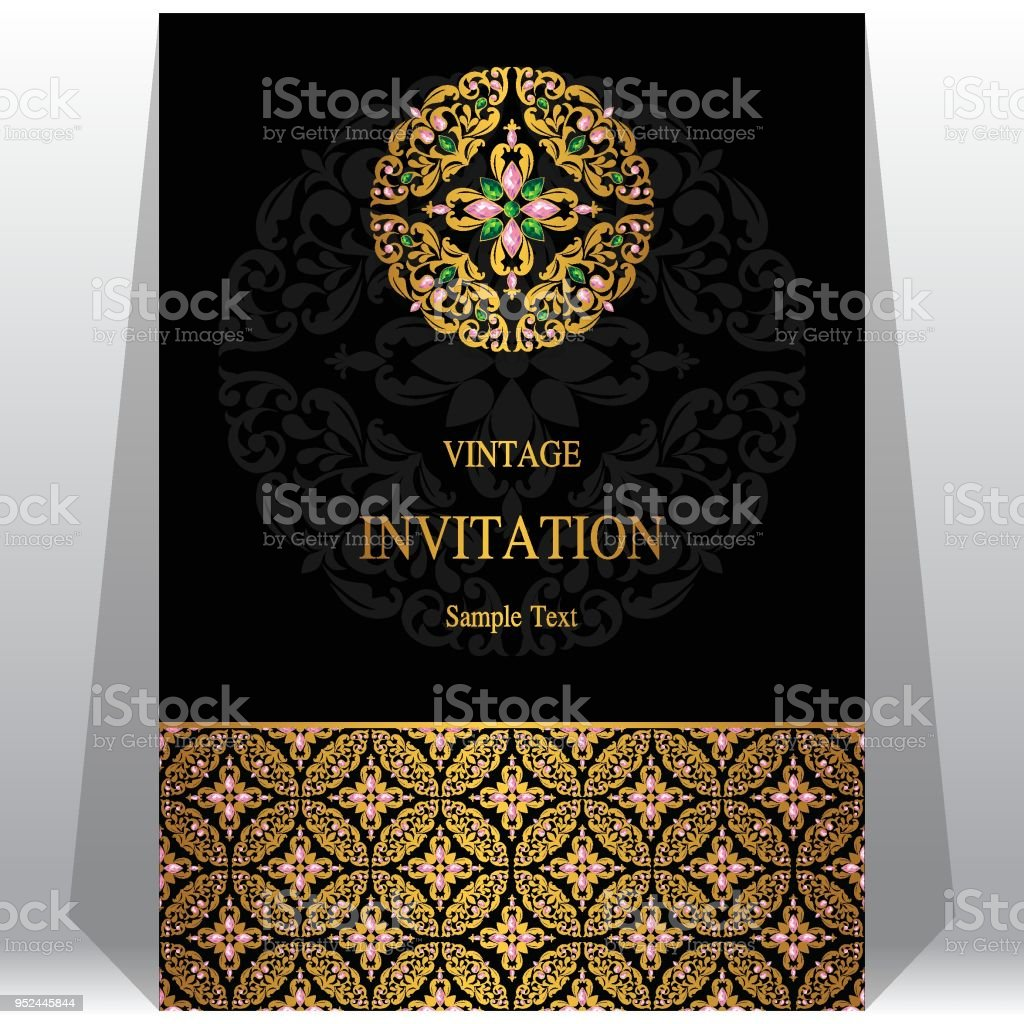 Indian Wedding Invitation Card Templates With Gold Patterned And Crystals On Paper Color Background Stockowe Grafiki Wektorowe I Więcej Obrazów