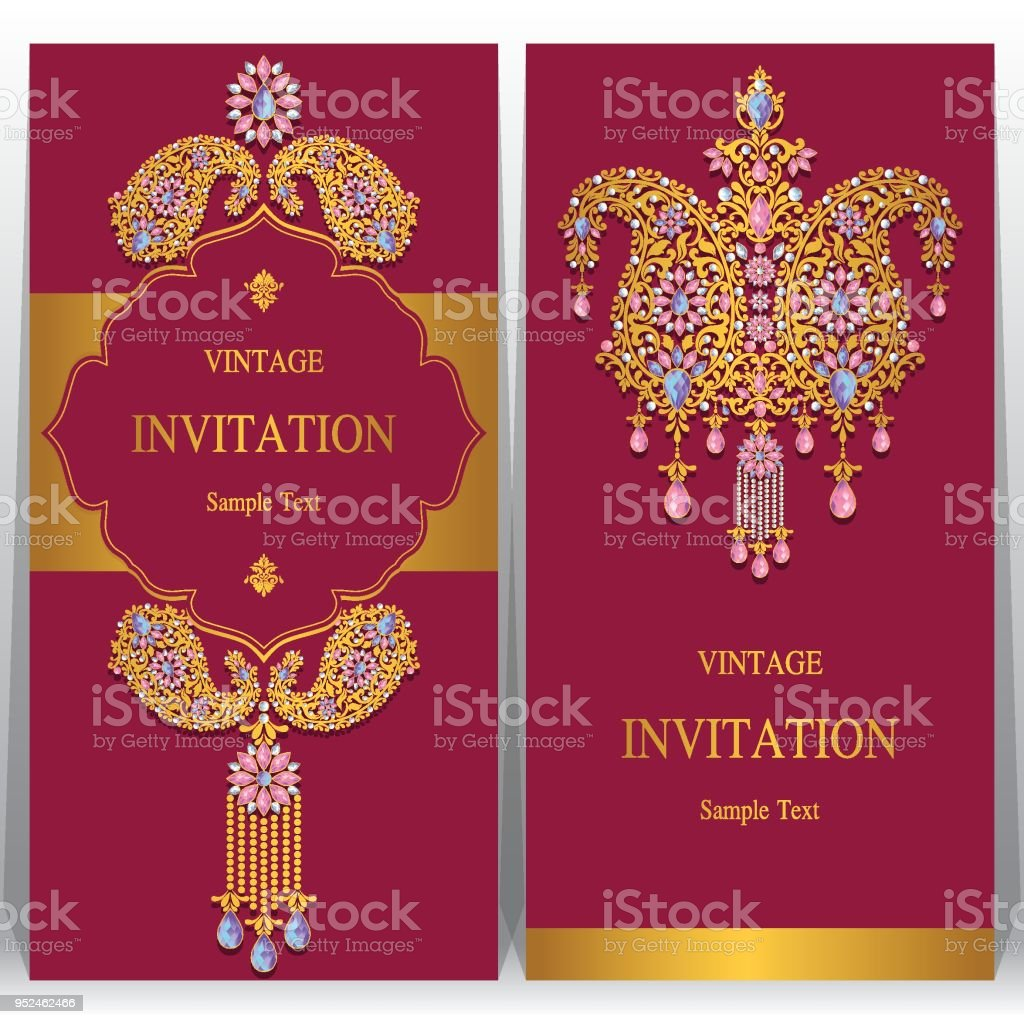 Indian Wedding Invitation Card Templates With Gold Patterned And Crystals  On Paper Color Background. Royalty