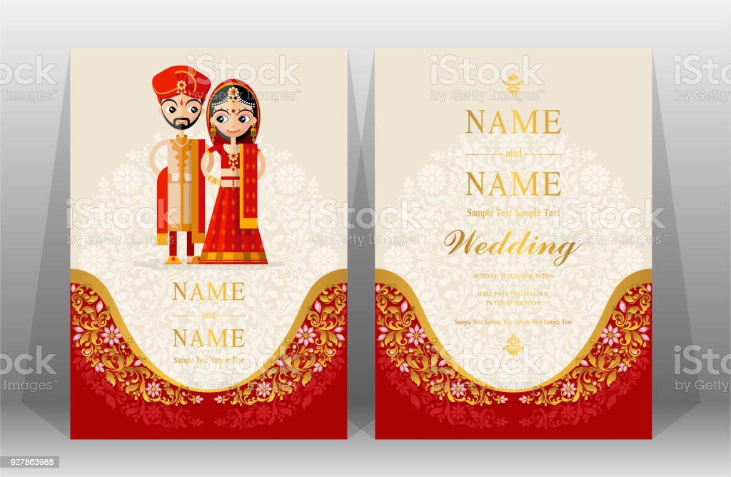 Indian wedding invitation card templates with indian man and women indian wedding invitation card templates with indian man and women traditional costumes wedding on paper color stopboris Images