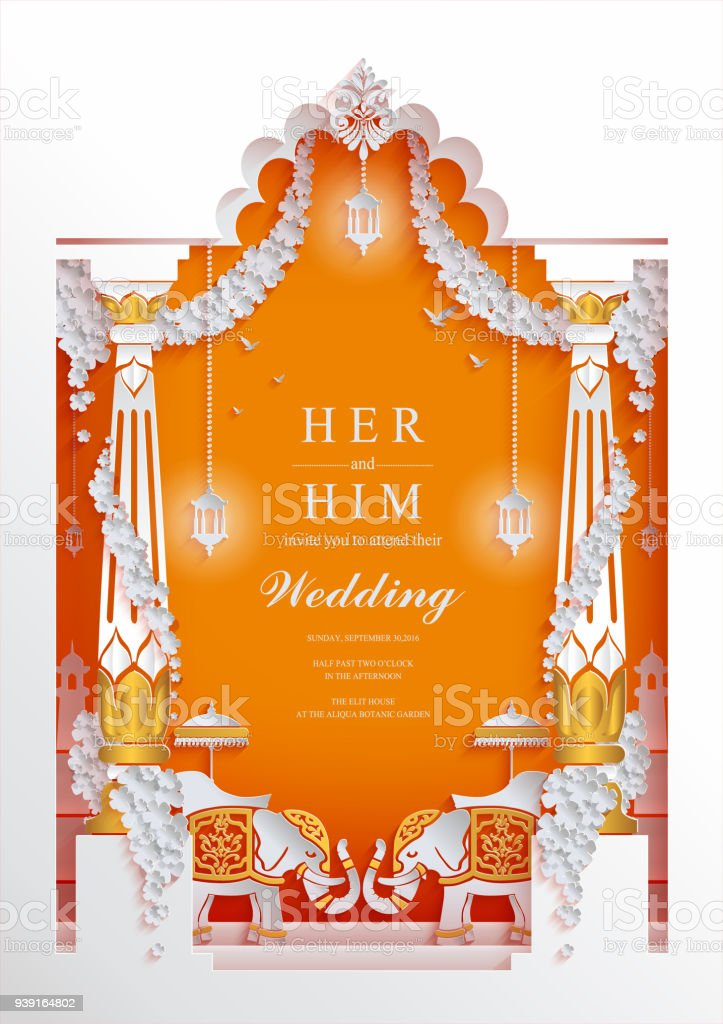 Indian wedding invitation card templates with paper art and craft indian wedding invitation card templates with paper art and craft style on paper color stopboris Image collections