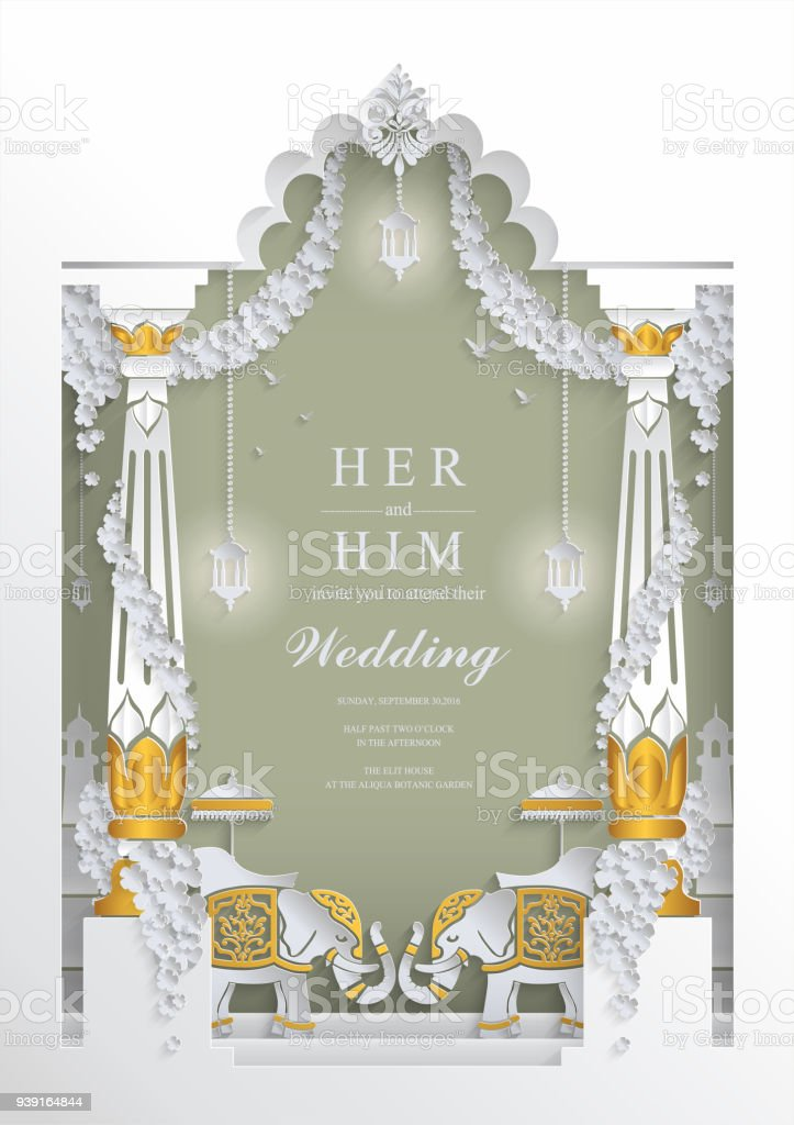 Indian Wedding Invitation Card Templates With Paper Art And Craft
