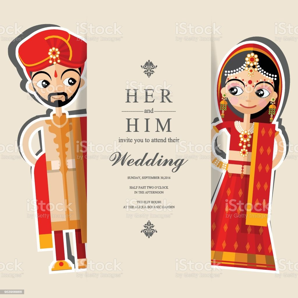 Indian Wedding Invitation Card Templates With Paper Art And