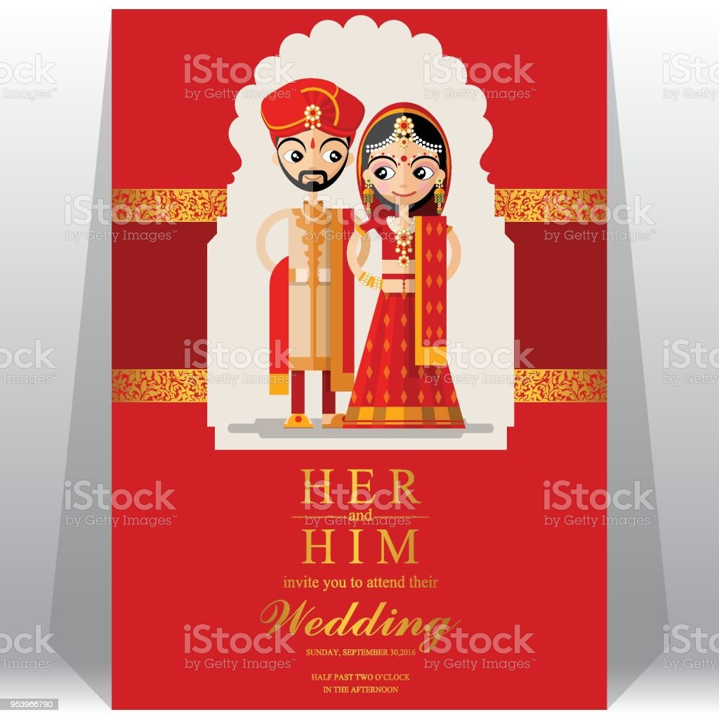 indian wedding invitation card templates with paper art and craft style on paper color background - Indian Wedding Invitation Cards