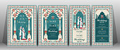 Indian wedding Invitation card templates with Taj Mahal flower patterned on paper color Background.