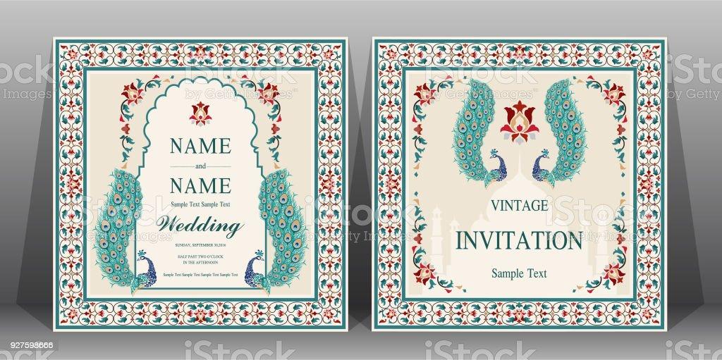 Indische Hochzeit Einladung Kartenvorlagen Mit Taj Mahal Blumen Gemusterte  Papier Farbe Hintergrund. Lizenzfreies Indische Hochzeit