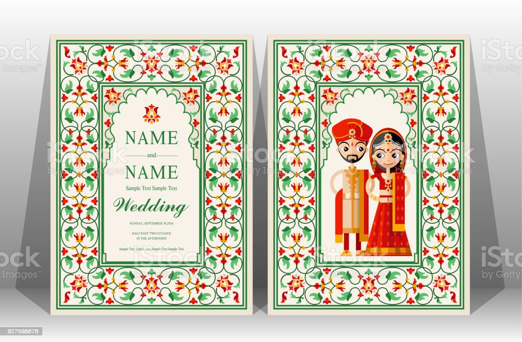 Indian wedding invitation card templates with taj mahal flower indian wedding invitation card templates with taj mahal flower patterned on paper color background royalty m4hsunfo