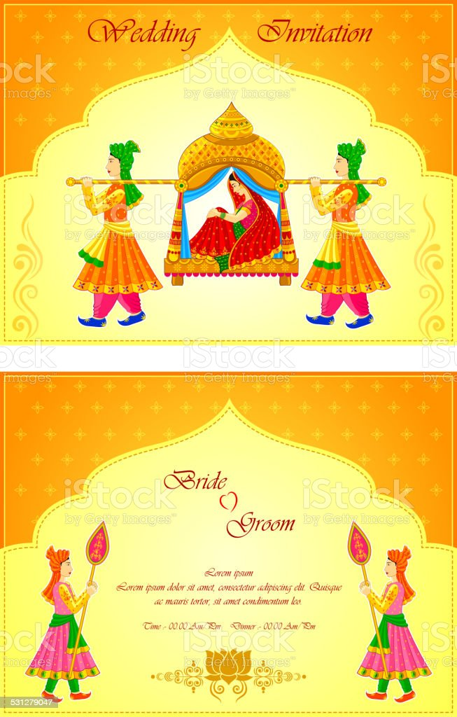 Indian Wedding Invitation Card Stock Vector Art & More Images of ...