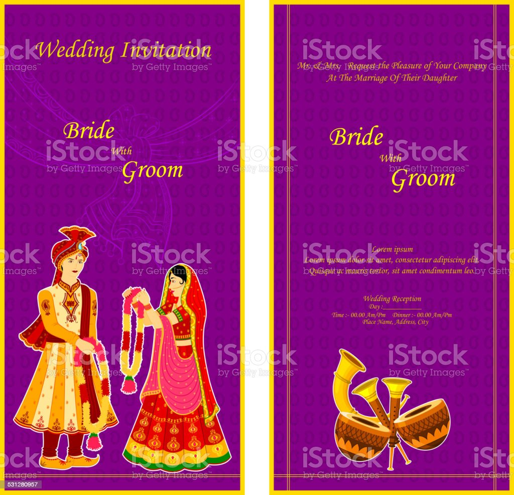 Indian Wedding Invitation Card Stock Vector Art More Images Of