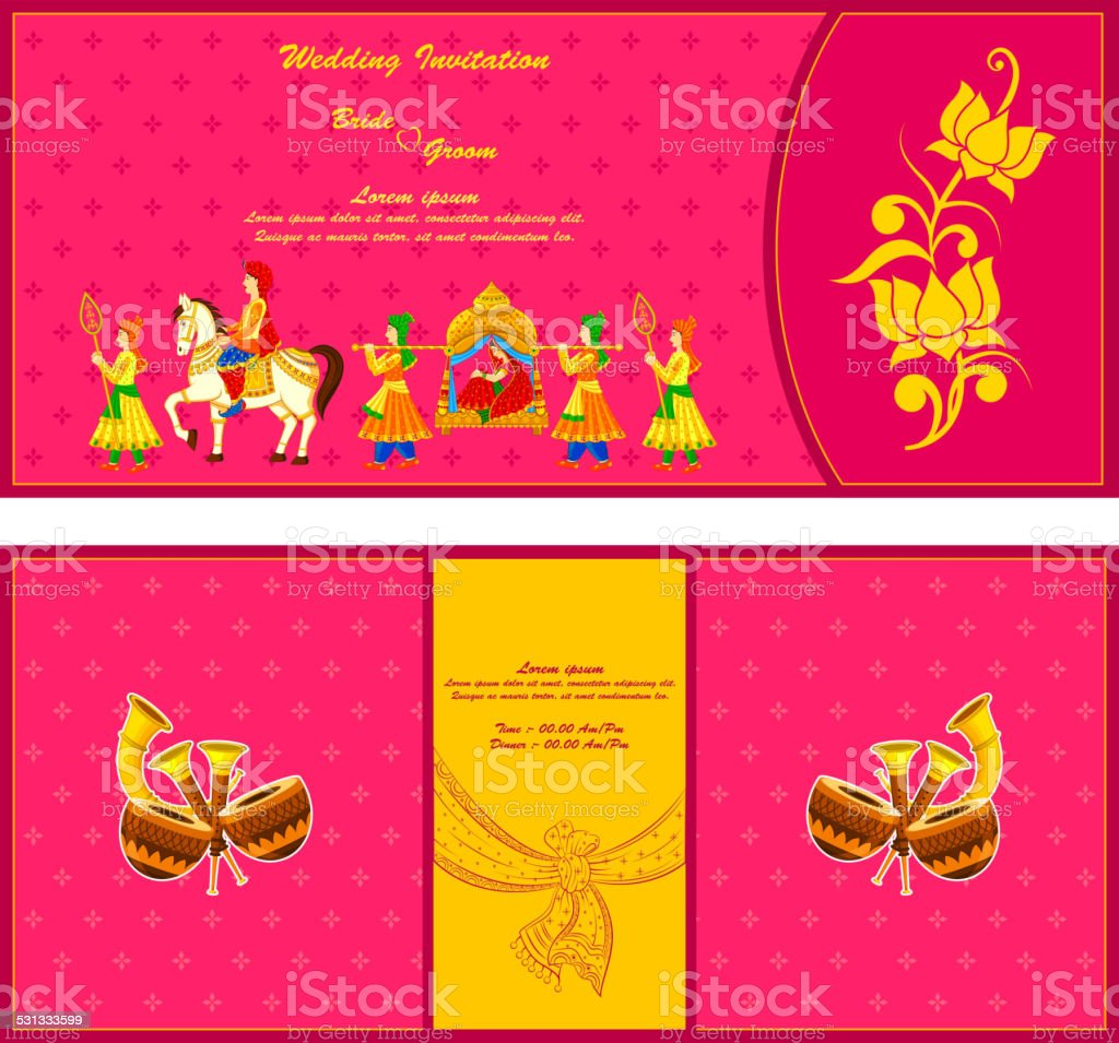 Indian wedding invitation card stock vector art more images of indian wedding invitation card royalty free indian wedding invitation card stock vector art amp stopboris Images