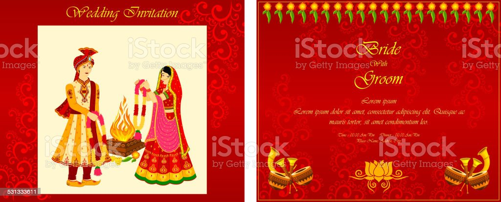 Indian wedding invitation card vector art illustration