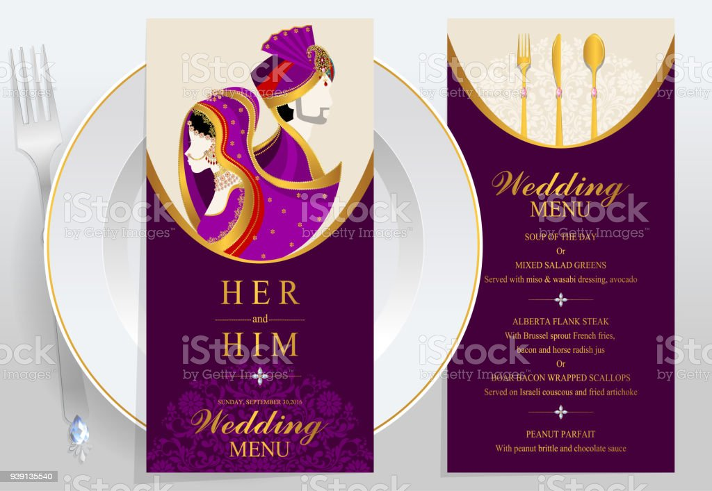 Indian Wedding Menu Card Templates With Gold Patterned And Crystals