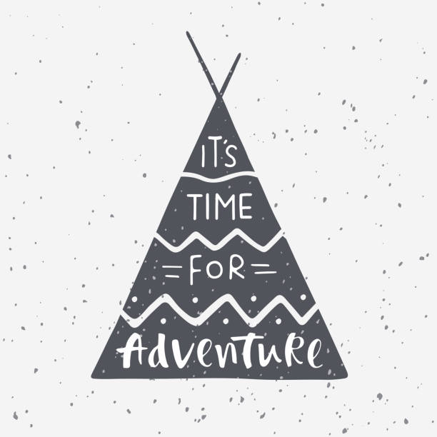 Indian wigwam silhouette with hand drawn lettering It's time for adventure Vector illustration on grunge background for prints, posters and t-shirts design. Travel, wildlife and adventure symbol. teepee stock illustrations