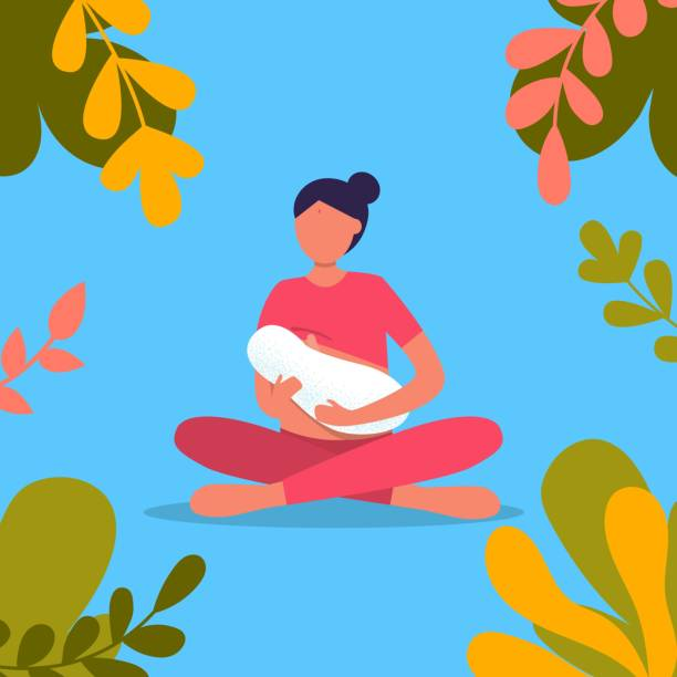 ilustrações de stock, clip art, desenhos animados e ícones de indian woman breastfeeding her newborn baby in lotus pose in park. lactation. breast feeding week banner, happy mother day clip art. child drinks milk from the female breast. - breastfeeding