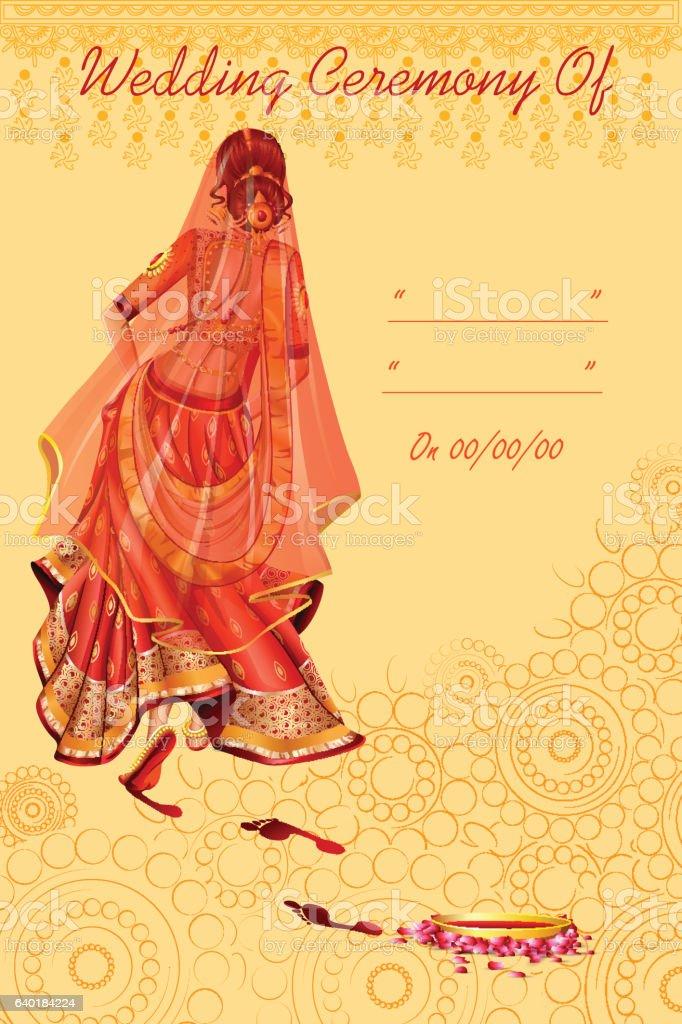 Indian Woman Bride In Griha Pravesh Wedding Ceremony Of
