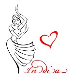 Indian woman. Dancing girl. India. The heart. Vector illustration.