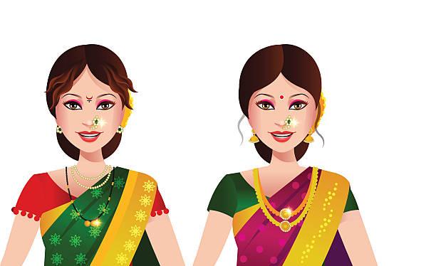indische frau vom staat maharashtra - paararmbänder stock-grafiken, -clipart, -cartoons und -symbole