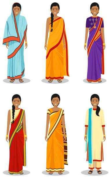 stockillustraties, clipart, cartoons en iconen met indiase vrouw. set van verschillende staande jonge volwassen vrouwen in de traditionele nationale kleding geïsoleerd op witte achtergrond in platte stijl. verschillen mensen in het oosten jurk. vector illustratie. - indiase cultuur