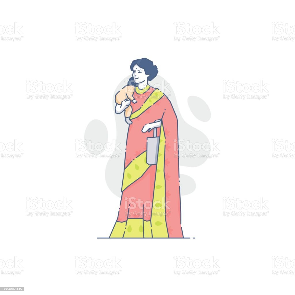 Indian woman with sleeping baby on her hand vector art illustration